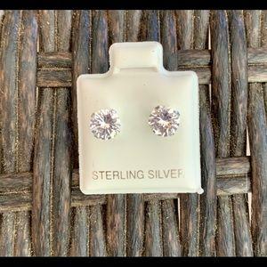Sterling Silver 6mm Cubic Zirconia Studs Earrings